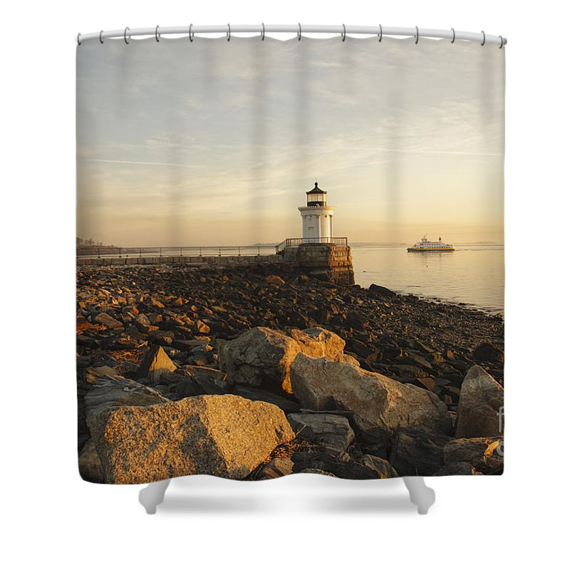 Atlantic Ocean Shower Curtain featuring the photograph Portland Breakwater Light - Portland Maine by Erin Paul Donovan
