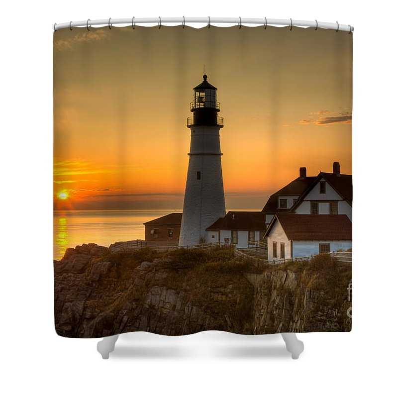 Clarence Holmes Shower Curtain featuring the photograph Portland Head Light At Sunrise II by Clarence Holmes