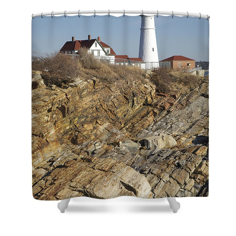 Atlantic Ocean Shower Curtain featuring the photograph Portland Head Light - Cape Elizabeth Maine by Erin Paul Donovan