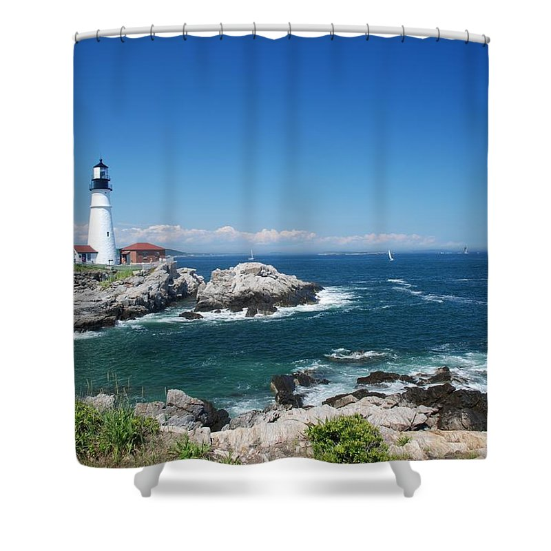 Portland Head Lighthouse Shower Curtain featuring the photograph Portland Head Lighthouse by Allen Beatty