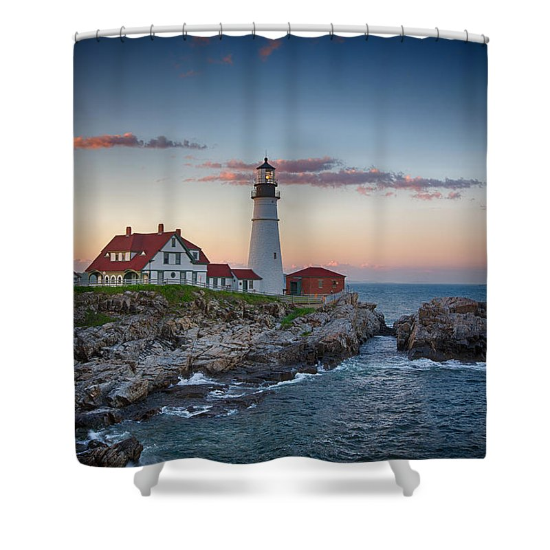 Lighthouse Shower Curtain featuring the photograph Portland Headlight Sunset by John Haldane