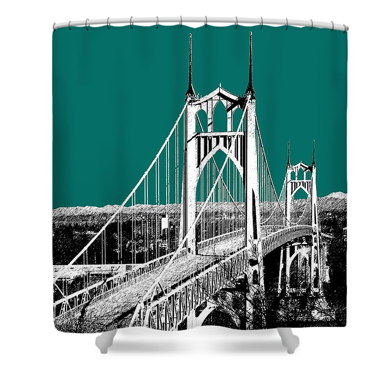 Architecture Shower Curtain featuring the digital art Portland Skyline St. Johns Bridge - Sea Green by DB Artist
