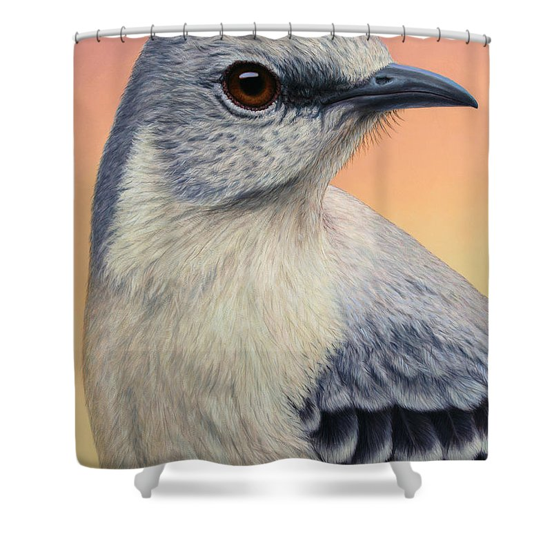 Mockingbird Shower Curtain featuring the painting Portrait Of A Mockingbird by James W Johnson