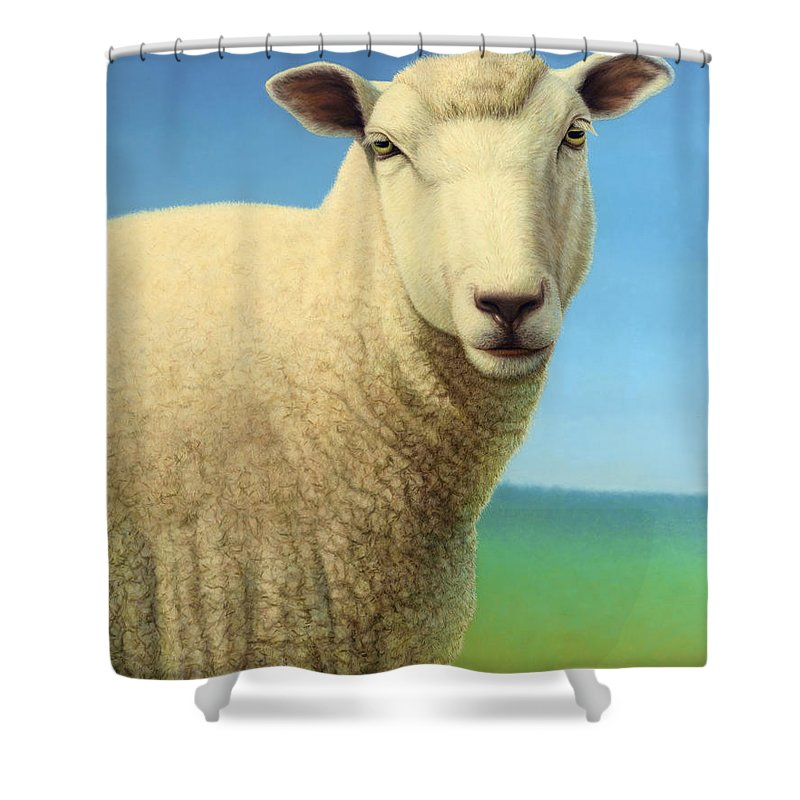 Sheep Shower Curtain Featuring The Painting Portrait Of A By James W Johnson
