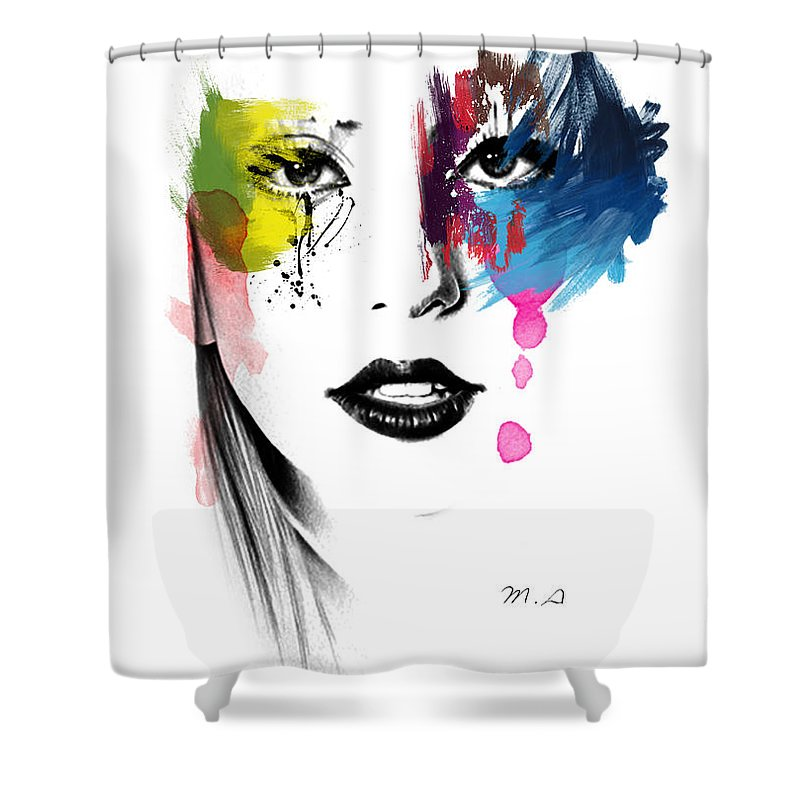 Lady Gaga Shower Curtain featuring the painting Portrait Of Colors  by Mark Ashkenazi