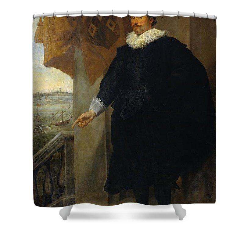1625-1635 Shower Curtain featuring the painting Portrait Of Nicolaes Van Der Borght by Anthony van Dyck
