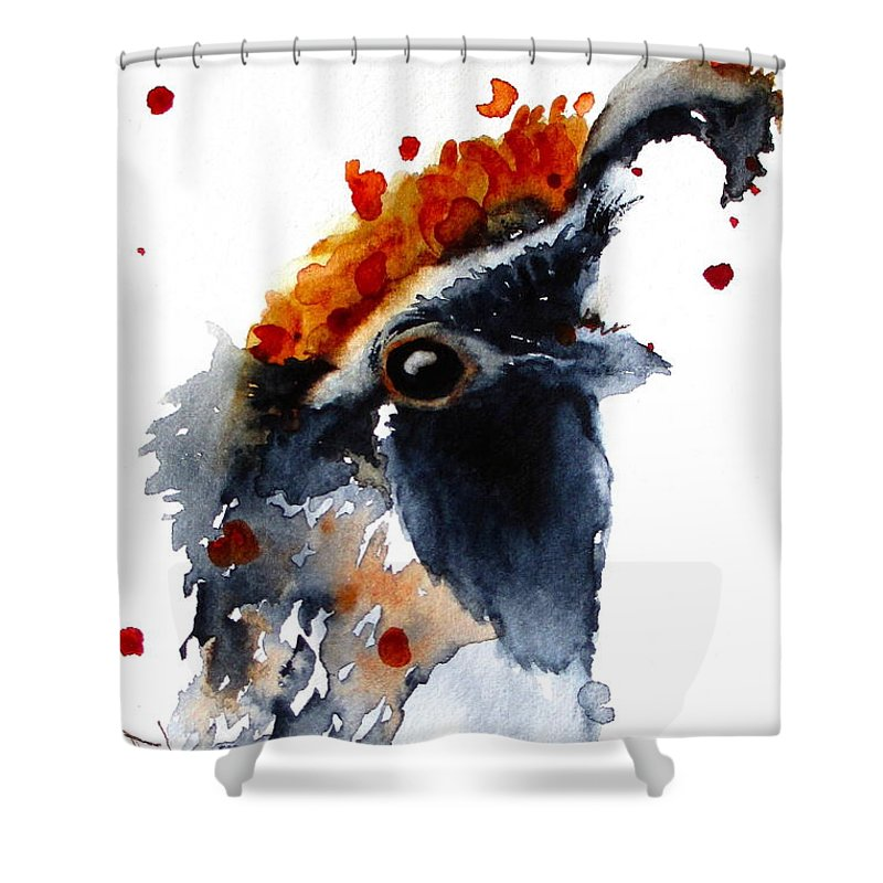 Quail Shower Curtain featuring the painting Portrait Posing by Dawn Derman