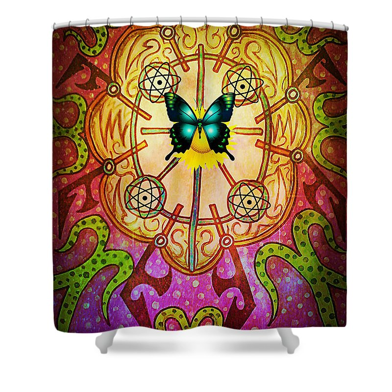 Tribal Shower Curtain featuring the digital art Positive Attraction by Alexander Ladd