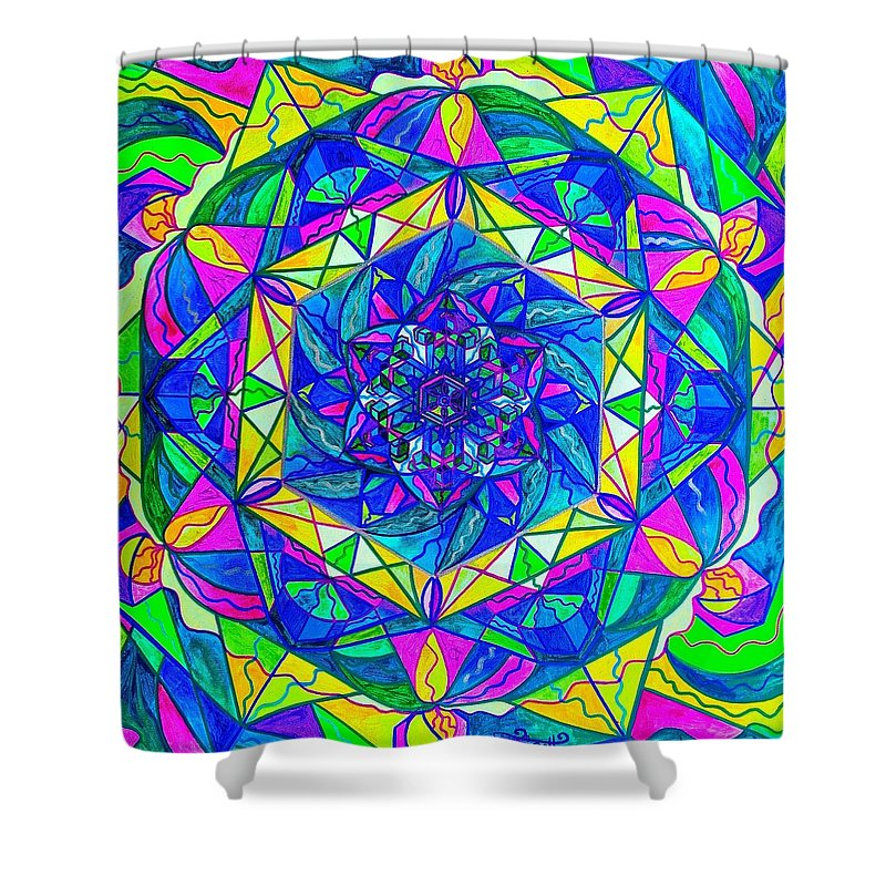 Vibration Shower Curtain featuring the painting Positive Focus by Teal Eye Print Store