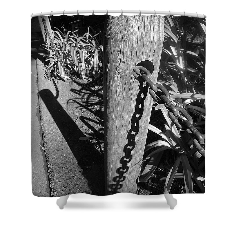 Black And White Shower Curtain featuring the photograph Post And Chain Fence by Denise Mazzocco