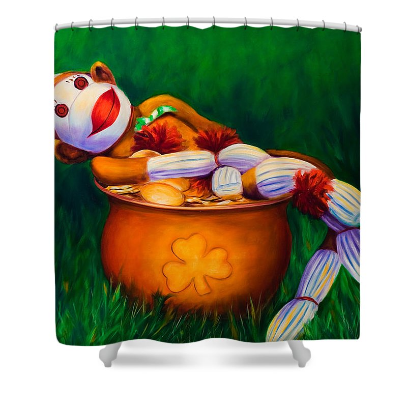 St. Patrick's Day Shower Curtain featuring the painting Pot O Gold by Shannon Grissom