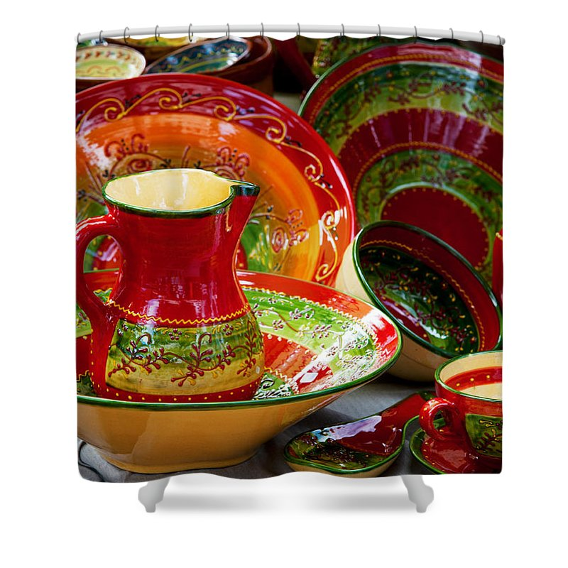 Photography Shower Curtain featuring the photograph Pottery For Sale At A Market Stall by Panoramic Images