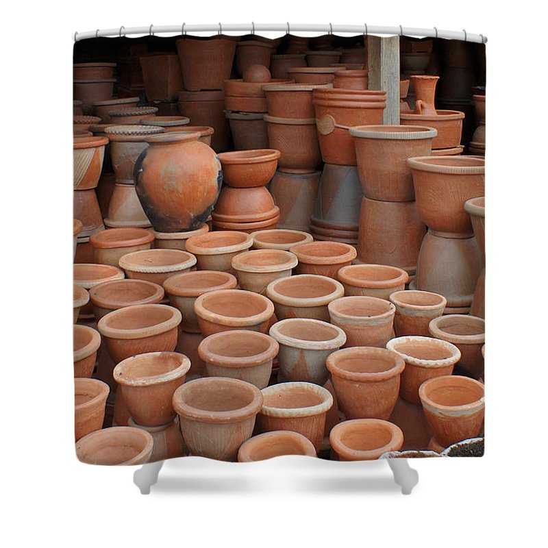 Madagascar Shower Curtain featuring the photograph pottery in Madagascar by Rudi Prott