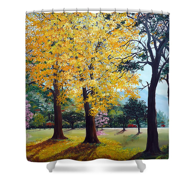 Tree Painting Landscape Painting Caribbean Painting Poui Tree Yellow Blossoms Trinidad Queens Park Savannah Port Of Spain Trinidad And Tobago Painting Savannah Tropical Painting Shower Curtain featuring the painting Poui Trees In The Savannah by Karin Dawn Kelshall- Best