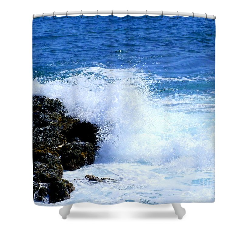 Ocean Shower Curtain featuring the photograph Pounding The Reef by Mary Deal