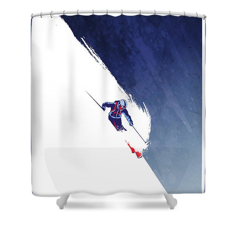 Ski Shower Curtain Featuring The Painting Powder To People By Sassan Filsoof