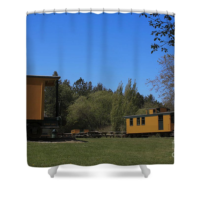 Landscape Shower Curtain featuring the photograph pr 131 - Caboose by Chris Berry