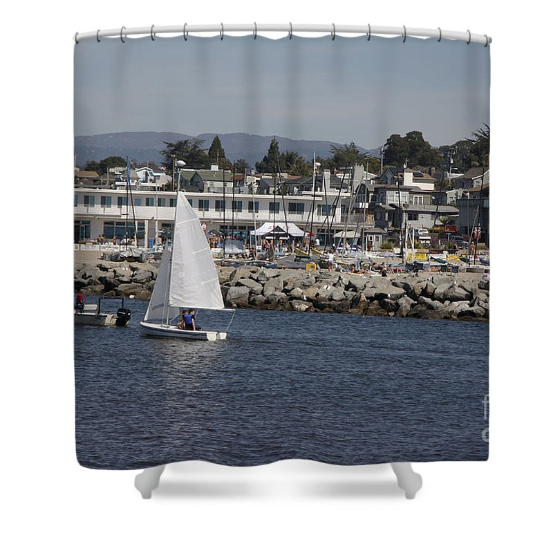 Seascape Shower Curtain featuring the photograph pr 193 - The Sailboat by Chris Berry