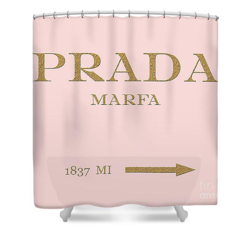 Prada Shower Curtain featuring the digital art Prada Marfa Mileage by Edit Voros