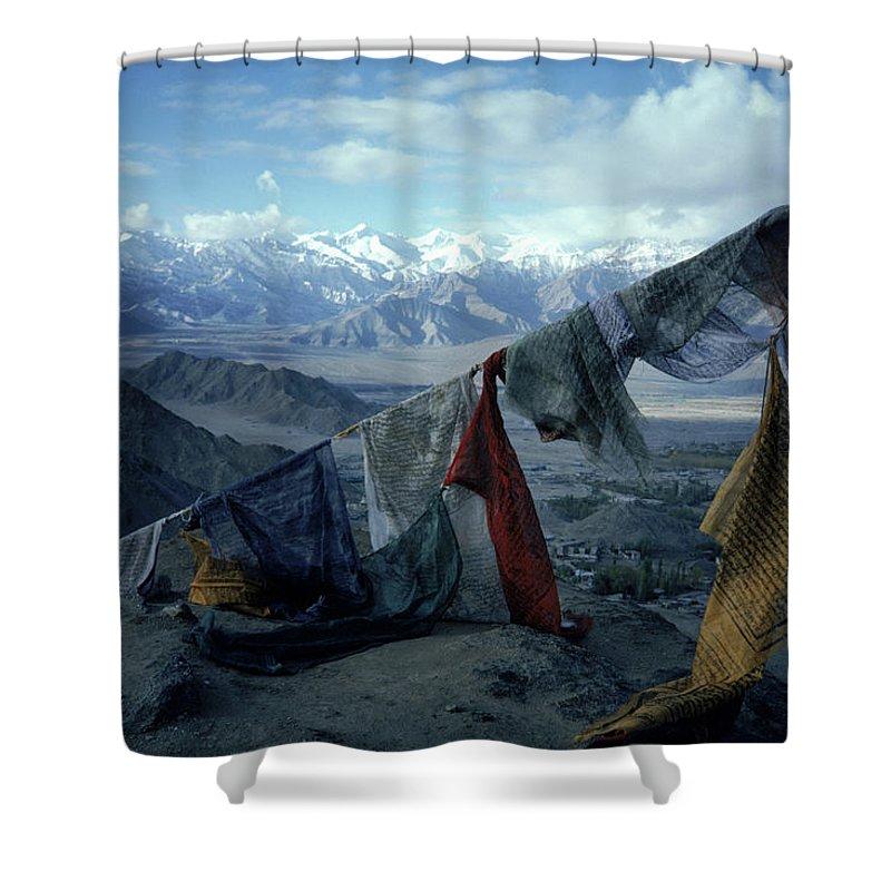 Buddhism Shower Curtain featuring the photograph Prayer Flags Leh Ladakh by Ralph Davis