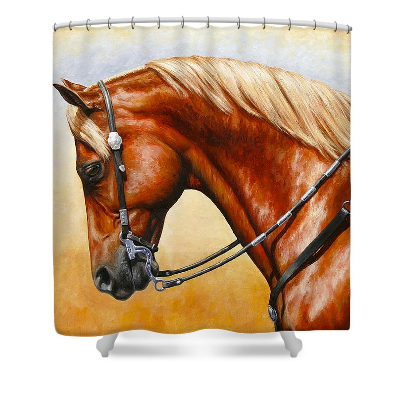Horse Shower Curtain featuring the painting Precision - Horse Painting by Crista Forest