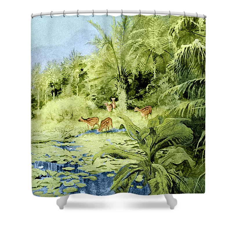 Flora Shower Curtain Featuring The Photograph Prehistoric Oligocene Landscape By Science Source
