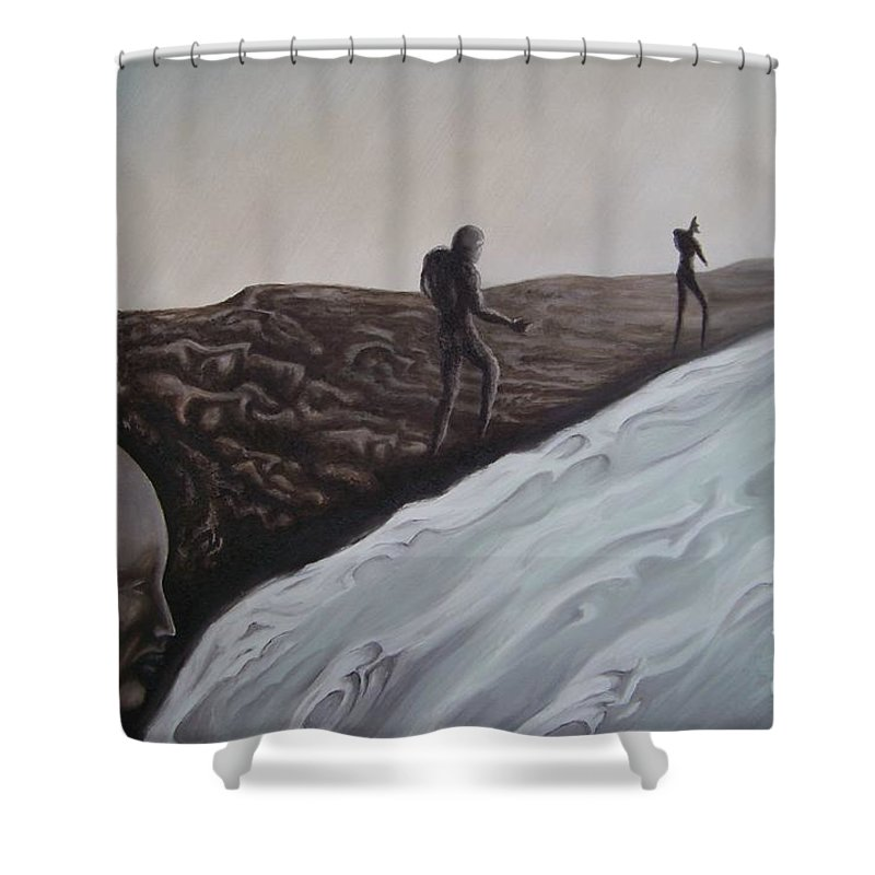 Tmad Shower Curtain featuring the painting Premonition by Michael TMAD Finney