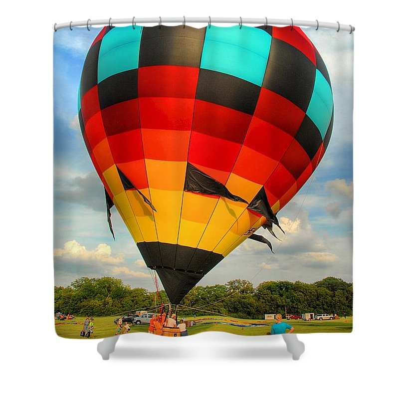 Hot Air Balloon Shower Curtain featuring the photograph Prepare For Lift Off by Dyle  Warren