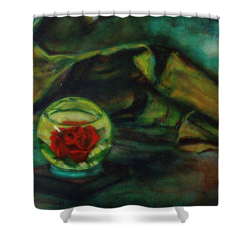Still Life Shower Curtain featuring the painting Preserved Rose . . Draped Canvas by Sean Connolly
