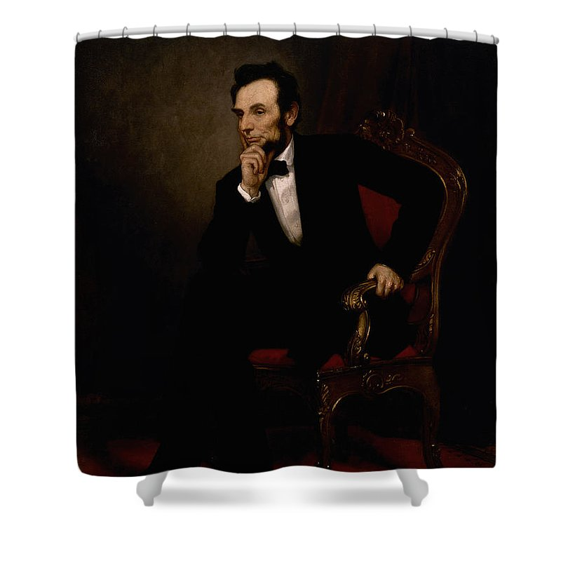 Abraham Lincoln Shower Curtain featuring the painting President Lincoln by War Is Hell Store