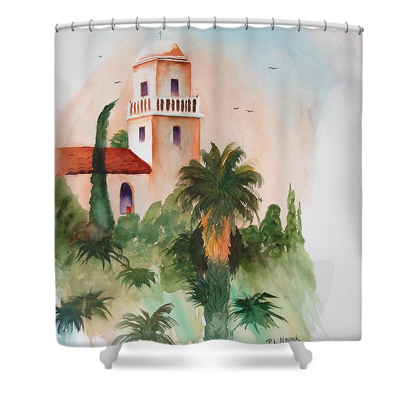 Mission Shower Curtain featuring the painting Presidio Park San Diego by Patricia Novack