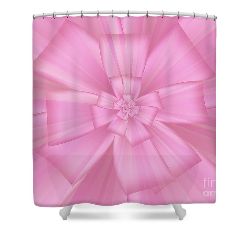 Pretty Pink Bow 1 Shower Curtain featuring the digital art Pretty Pink Bow 1 by Kimberly Hansen