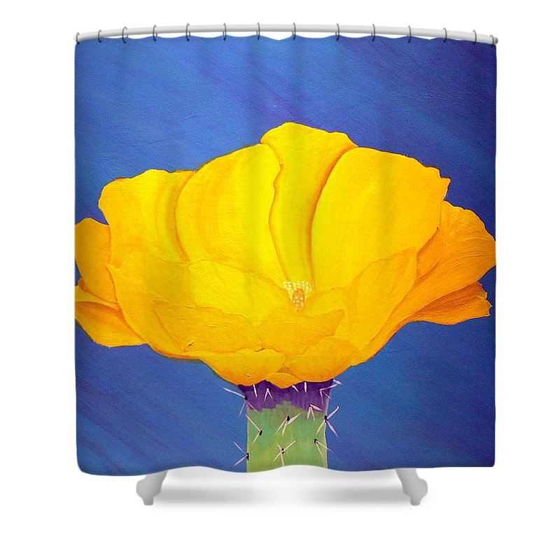 Desert Art Shower Curtain featuring the painting Prickly Pear Flower by Karyn Robinson