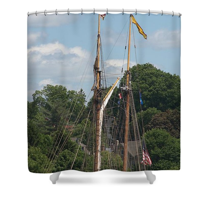 Tall Ship Shower Curtain featuring the photograph Pride Of Baltimore II At Dock by Valerie Kirkwood