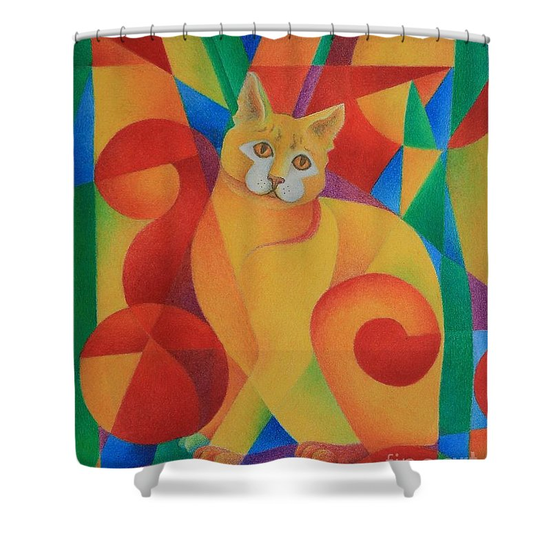 Cat Shower Curtain featuring the painting Primary Cat II by Pamela Clements