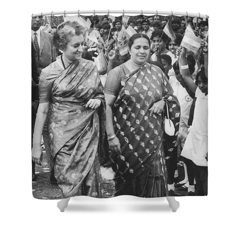 1960s Shower Curtain featuring the photograph Prime Minister Indira Gandhi by Underwood Archives