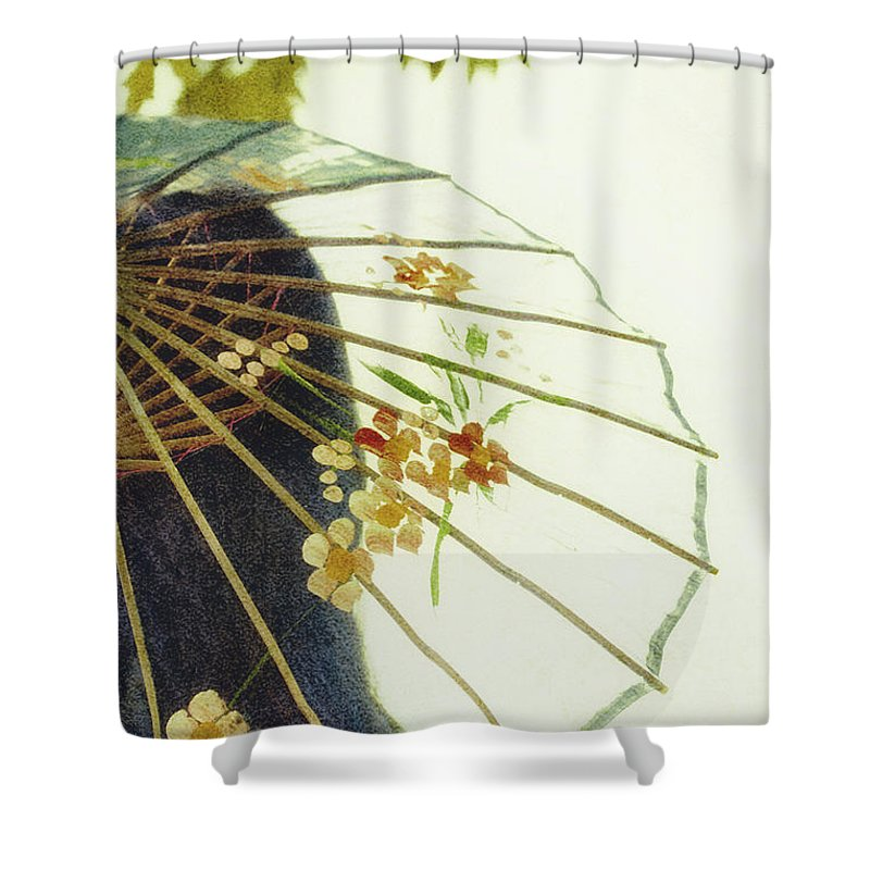 Chinese; Woman; Female; Lady; Pretty; Beautiful; Feminine; Prim; Proper; Umbrella; Shade; Parasol; Cover; Brunette; Decor; Ornate; Orient; Oriental; Leaves Shower Curtain featuring the photograph Pristine by Margie Hurwich