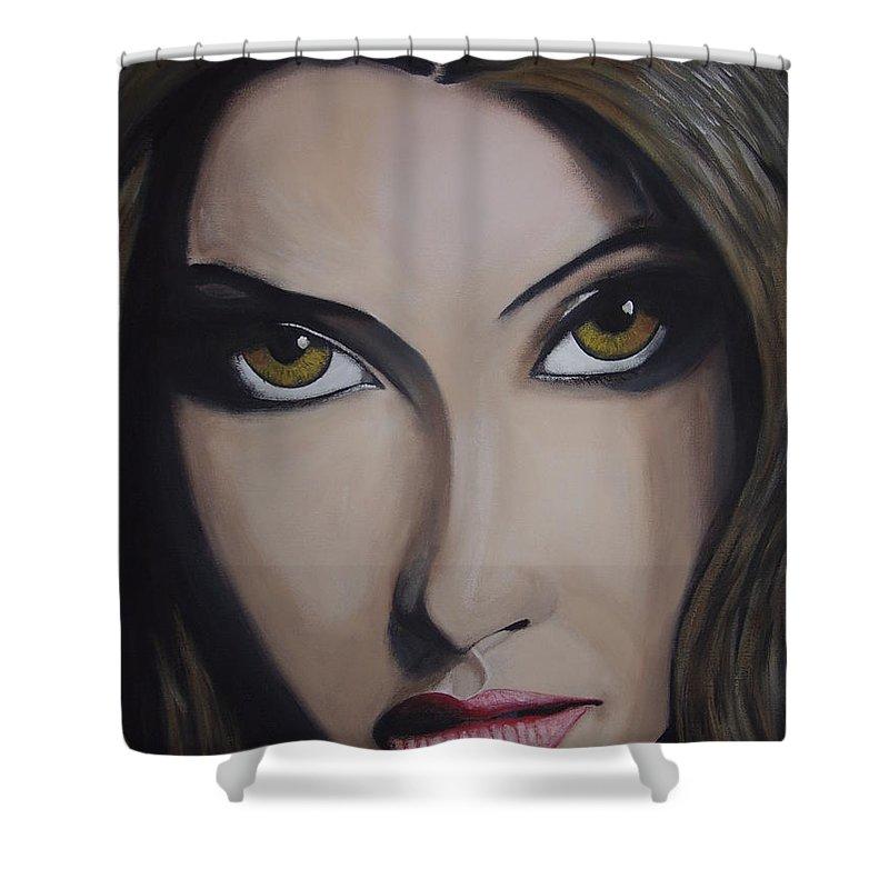 Bollywood Star Shower Curtain featuring the painting Priyanka Chopra by Dean Stephens