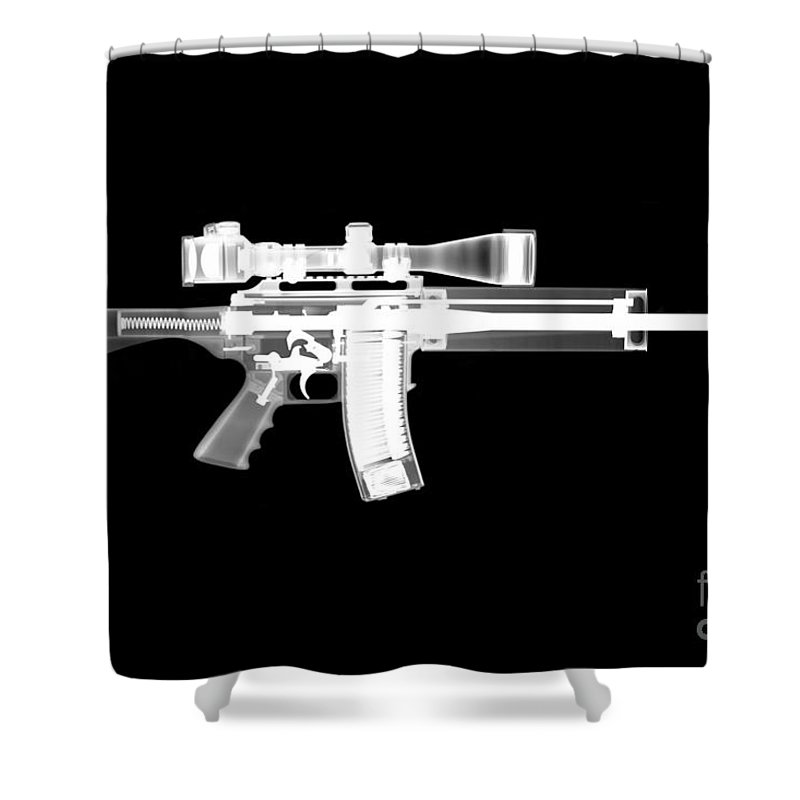 Gun Collectible Shower Curtain featuring the photograph Pro Ordnance Carbon Ar15 by Ray Gunz