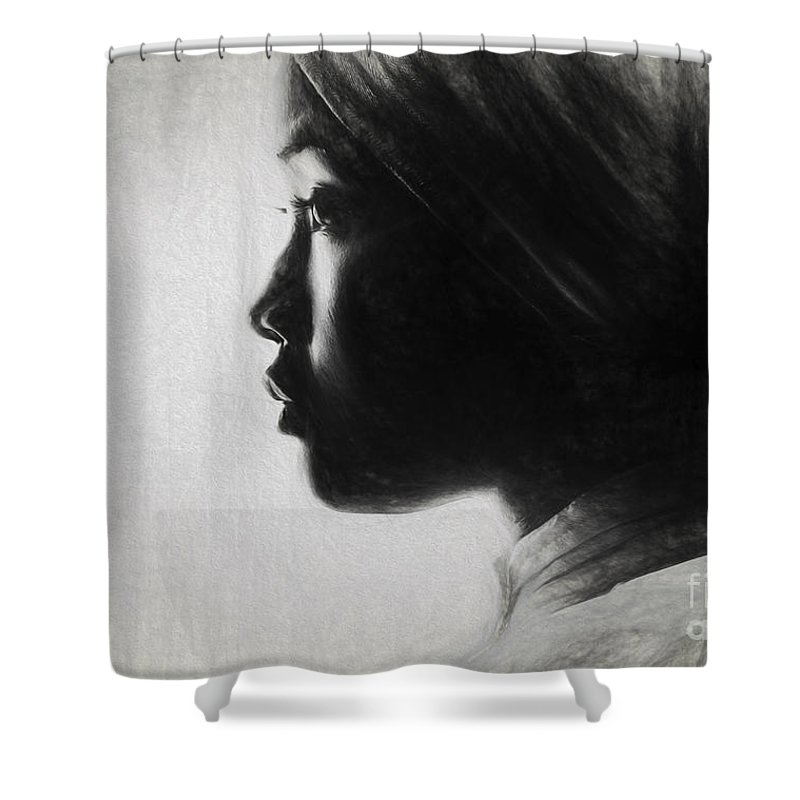 Sketch Shower Curtain featuring the photograph Profile Of A Young Woman In Turban by Sheila Smart Fine Art Photography