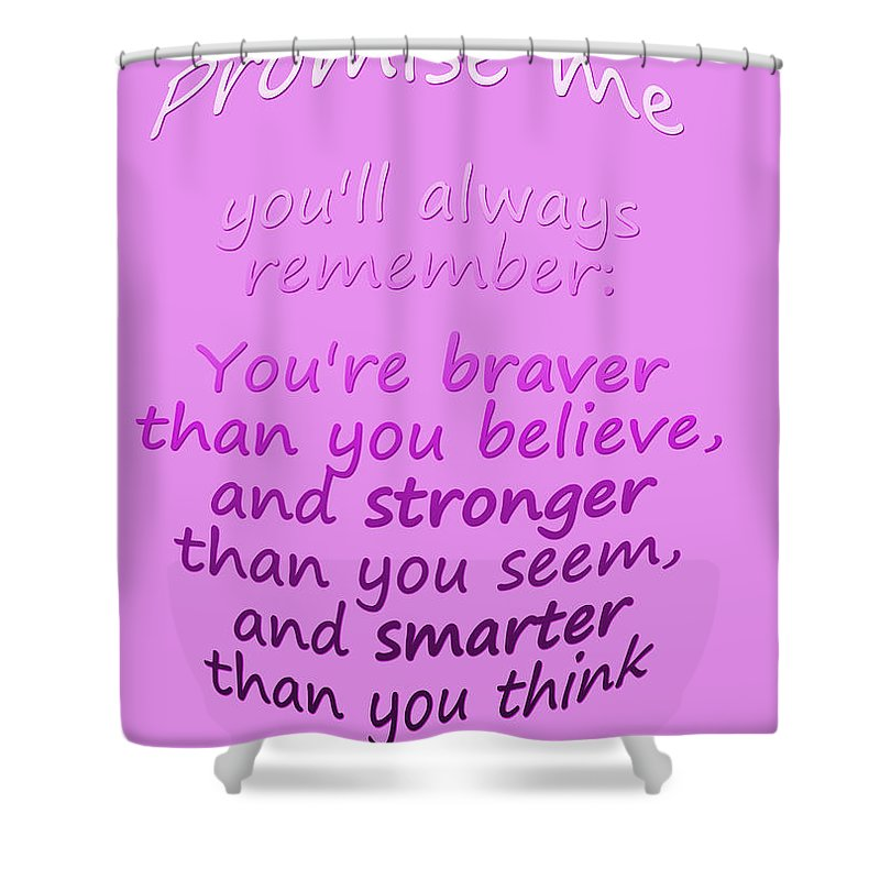 Winnie The Pooh Shower Curtain featuring the digital art Promise Me - Winnie The Pooh - Pink by Georgia Fowler