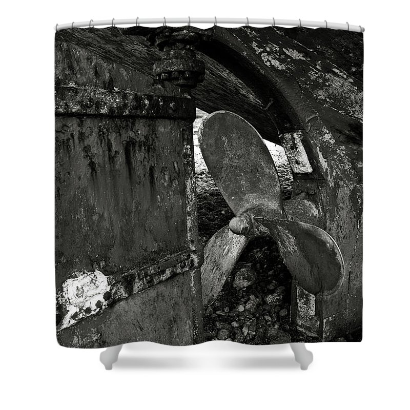 Propeller Shower Curtain featuring the photograph Propeller Of An Old Abandoned Ship by RicardMN Photography