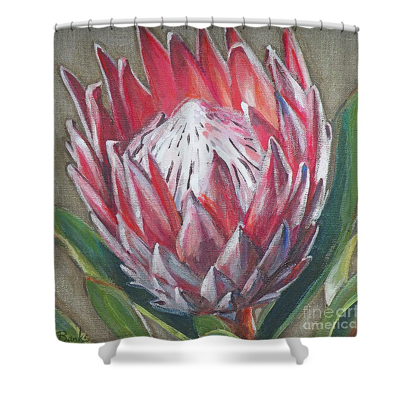 Protea Shower Curtain featuring the painting Protea by Leigh Banks