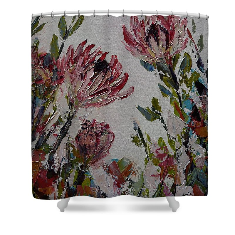 Flowers Shower Curtain featuring the painting Proteas by Yvonne Ankerman