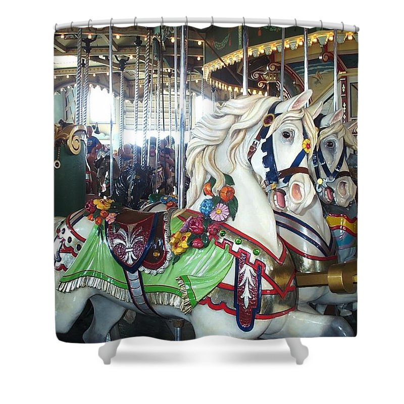 Carousel Shower Curtain featuring the photograph Proud Prancing Ponies by Barbara McDevitt