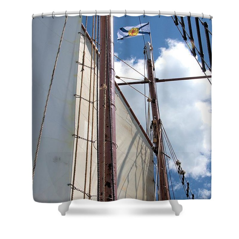 Tall Ship Shower Curtain featuring the photograph Proudly Nova Scotian by Valerie Kirkwood