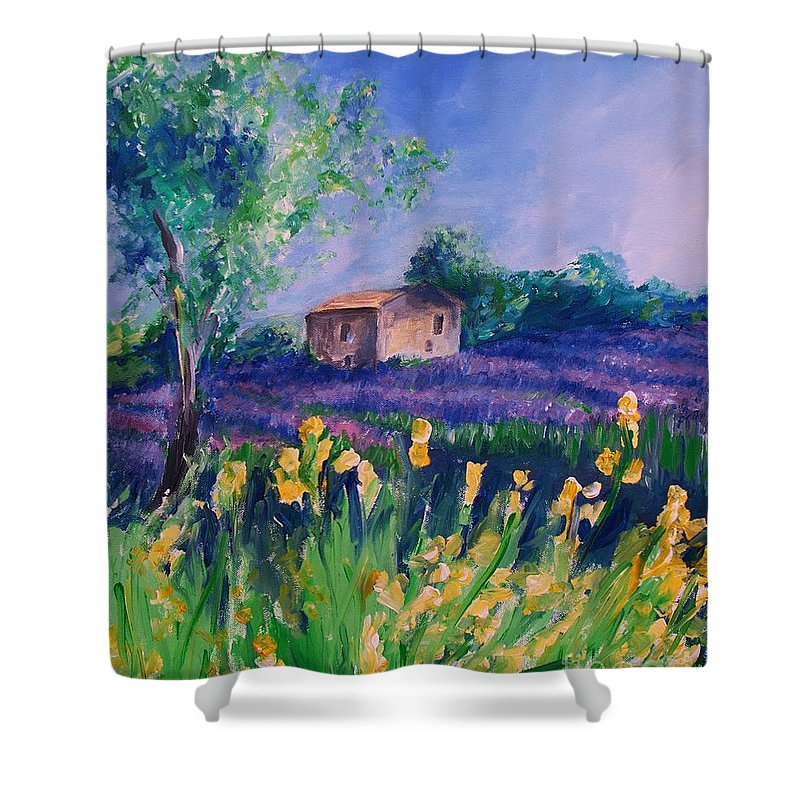 Floral Shower Curtain featuring the digital art Provence Yellow Flowers by Eric Schiabor