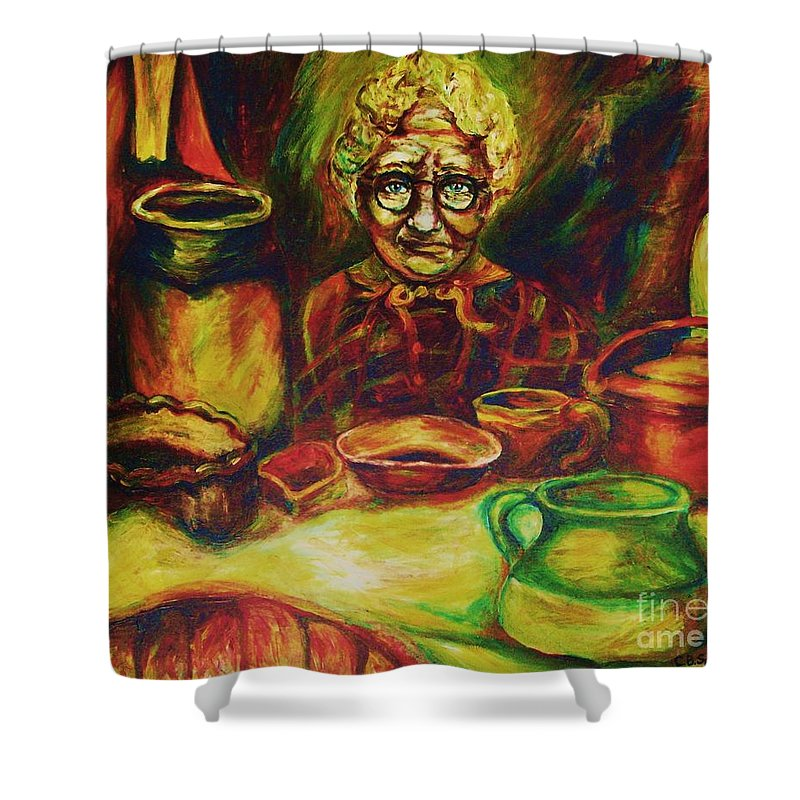 Illustrations From The Bible Shower Curtain featuring the painting Proverbs 31 Woman by Carole Spandau