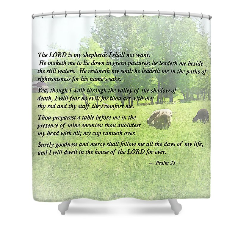 Psalm 23 The Lord Is My Shepherd Shower Curtain For Sale By Susan Savad