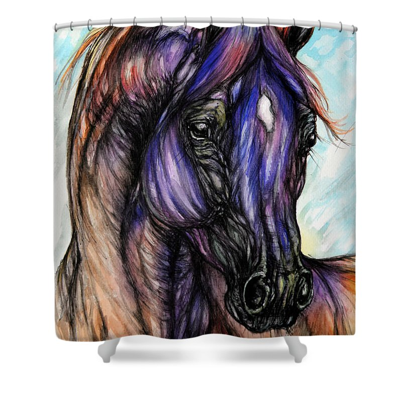 Horse Shower Curtain featuring the painting Psychedelic Blue And Orange by Angel Ciesniarska